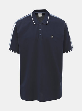 Tmavě modré polo tričko s lampasem Jack & Jones Block