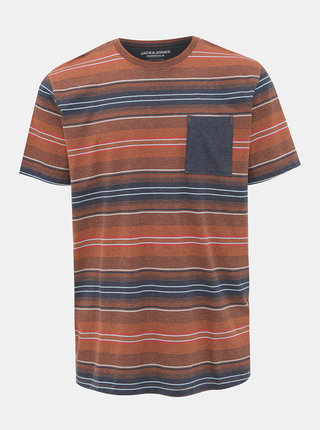 Hnedé pruhované tričko Jack & Jones Chil