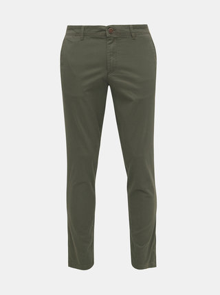 Zelené vzorované slim fit nohavice Jack & Jones Marco