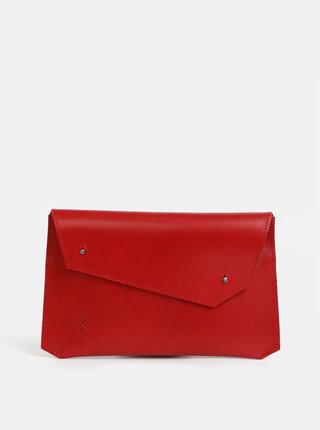 Červená kožená listová kabelka WOOX Epistula Purpurea