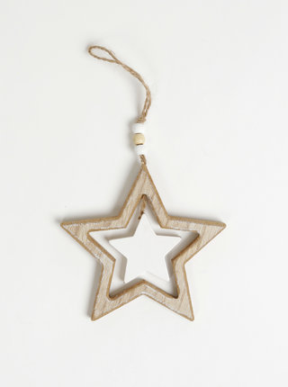 Dřevěná závěsná dekorace ve tvaru hvězdy Dakls