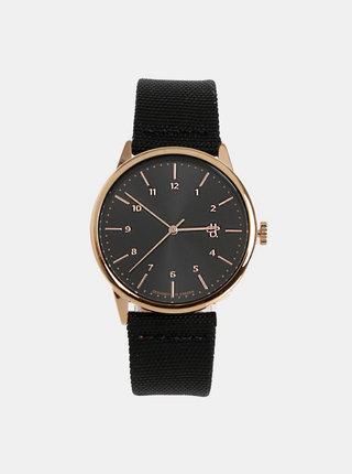 Dámske hodinky s čiernym textilným remienkom s detailmi z vegánskej kože CHPO Rawiya