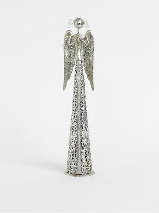 Kovový svícen ve stříbrné barvě ve tvaru anděla Dakls 39cm