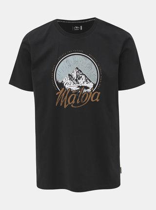 Černé tričko s potiskem Maloja Bertin