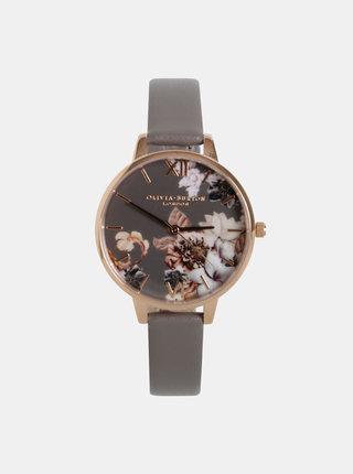 Dámske hodinky s šedým remienkom z vegánskej kože Olivia Burton