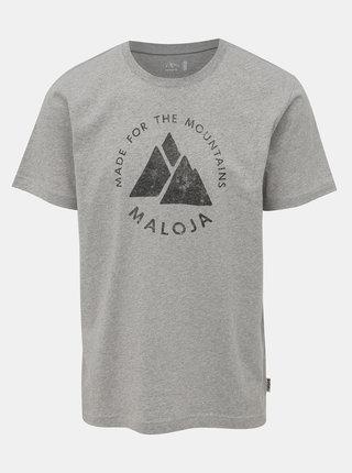 Šedé pánské tričko s potiskem Maloja Neir