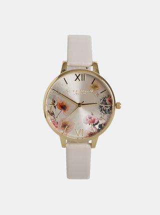 Dámské hodinky s krémovým páskem z veganské kůže Olivia Burton