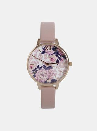 Dámske hodinky s rúžovým remienkom z vegánskej kože Olivia Burton