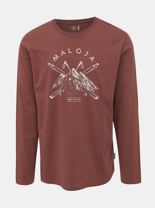 Hnědé pánské tričko s potiskem Maloja Luregn