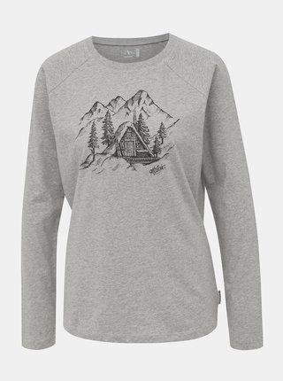 Šedé dámské tričko s potiskem Maloja Valler