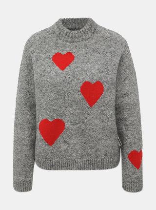 Šedý dámsky vzorovaný vlnený sveter Maloja Gueglia