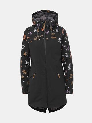 Čierny dámsky kvetovaný funkčný zimný kabát Maloja Nahum