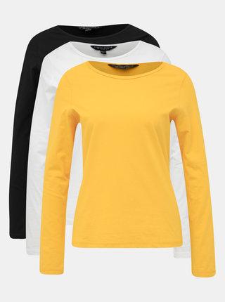 Sada troch basic tričiek v čiernej, bielej a horčicovej farbe Dorothy Perkins