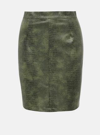 Zelená koženková sukňa s hadím vzorom Noisy May Missy