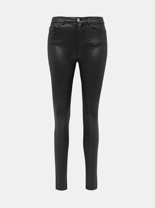 Čierne trblietavé skinny fit nohavice s povrchovou úpravou Noisy May Callie