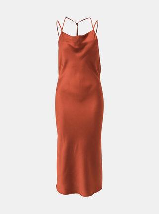 Hnedé saténové šaty Jacqueline de Yong Perfect
