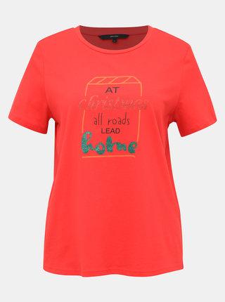 Červené tričko s potlačou VERO MODA Xmas