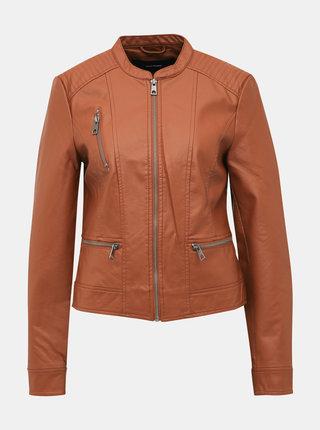 Hnedá koženková bunda VERO MODA Favo
