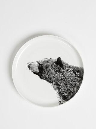 Bílý porcelánový talíř s motivem medvěda Maxwell & Williams