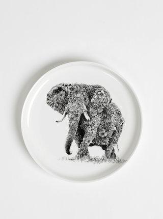 Bílý porcelánový talíř s motivem slona Maxwell & Williams
