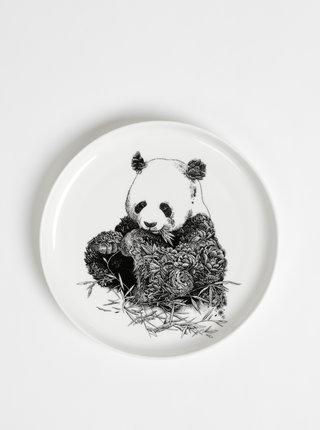 Bílý porcelánový talíř s motivem pandy Maxwell & Williams