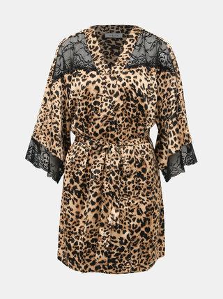 Světle hnědý lehký župan s krajkou a leopardím vzorem Pieces Jessica