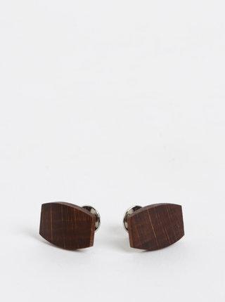 Tmavě hnědé dřevěné manžetové knoflíčky BeWooden