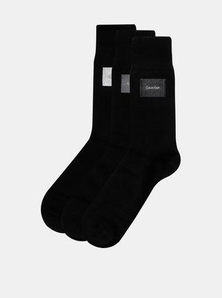 Sada troch párov pánskych čiernych ponožiek Calvin Klein Jeans