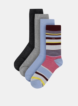 Sada čtyř párů dámských ponožek v modré a šedé barvě Calvin Klein Jeans