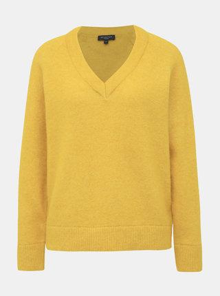 Žltý basic sveter s prímesou vlny Selected Femme Lanna