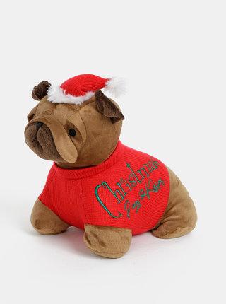 Červeno-hnědá zarážka do dveří SIFCON Xmass dog