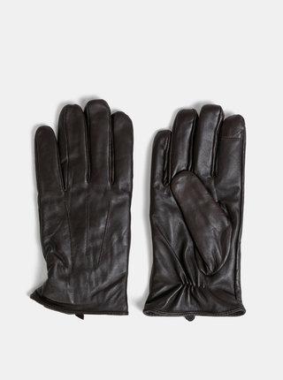 Tmavohnedé kožené rukavice Burton Menswear London
