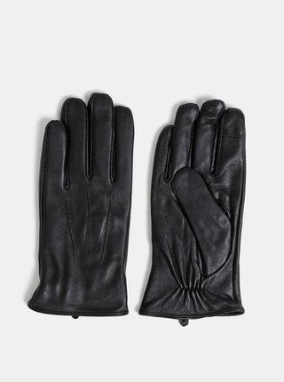 Čierne kožené rukavice Burton Menswear London