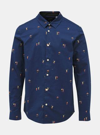 Tmavomodrá vzorovaná slim fit košeľa ONLY & SONS Farso