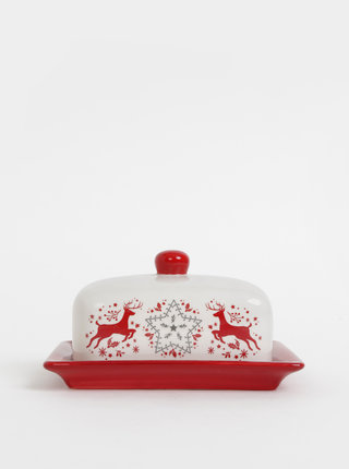 Červeno-biela dóza na maslo s vianočným motívom Cooksmart