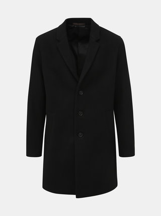 Čierny kabát s prímesou vlny Jack & Jones Moulder