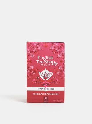 Organický bylinný čaj rooibos s medovým keřem, ibiškem, granátovým jablkem a malinou English Tea Shop Super Goodness