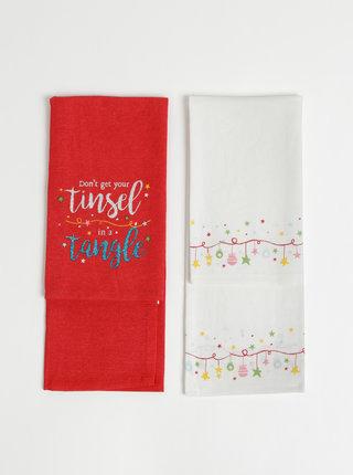 Sada dvou utěrek v bílé a červené barvě s vánočním motivem Cooksmart