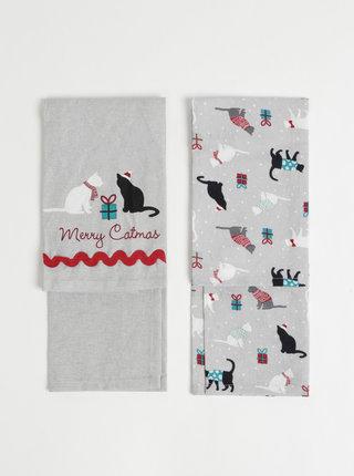 Sada dvou utěrek v šedé barvě s vánočním motivem Cooksmart