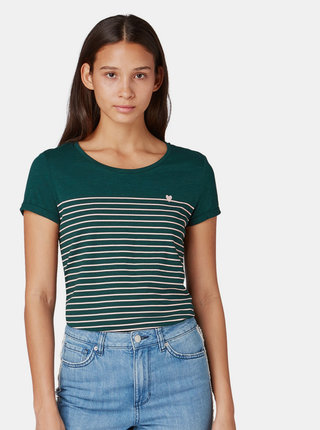 Tmavozelené dámske pruhované tričko Tom Tailor Denim