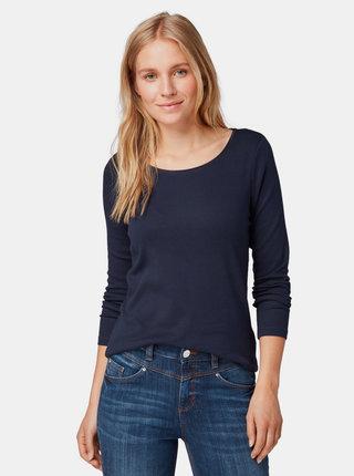 Tmavomodré dámske basic tričko Tom Tailor