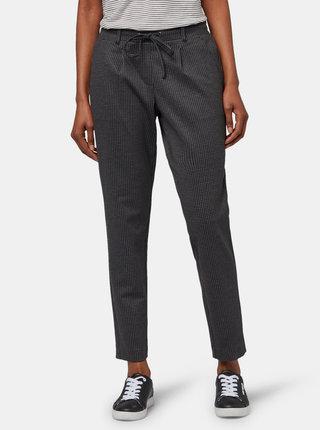 Tmavě šedé dámské vzorované kalhoty Tom Tailor
