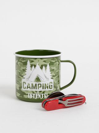 Sada campingového příboru a plecháčku v zelené barvě Portland