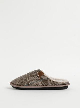Svetlohnedé pánske kockované papuče Portland