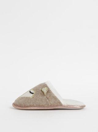 Světle hnědé papuče s motivem lišky Something Special