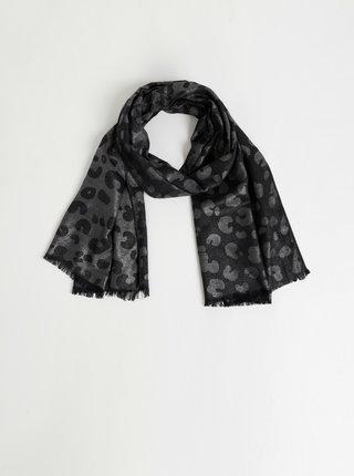 Šatka v čiernej a striebornej farbe s leopardím vzorom Something Special