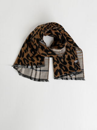 Béžovo-hnedý šál s leopardím vzorom Something Special