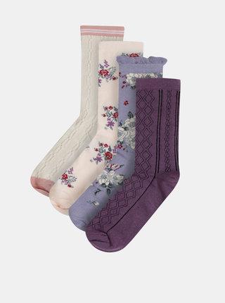 Sada čtyř párů ponožek v krémové, fialové a růžové barvě v dárkovém balení Something Special