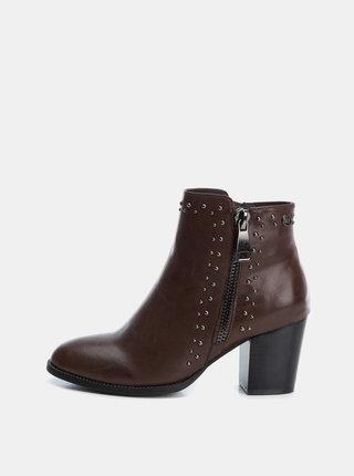 Hnědé dámské kotníkové boty Xti