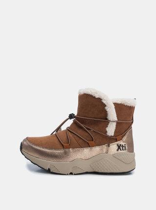 Hnedé dámske zimné členkové topánky v semišovej úprave Xti